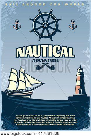 Retro Nautical Poster With Title Sail Around The World Nautical Adventure Headlines Vector Illustrat