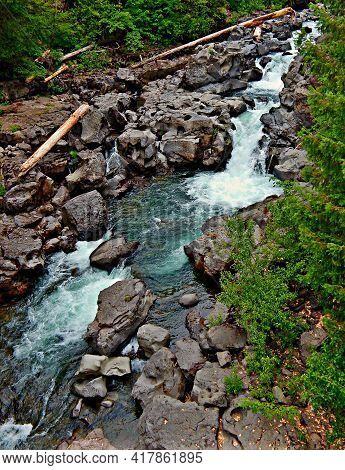 Overlooking The River Falls - A Summertime Scene At Prospect Falls On The Rogue River - Near Prospec