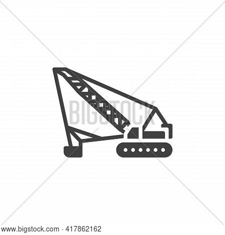 Crawler Crane Vector Icon. Filled Flat Sign For Mobile Concept And Web Design. Crane Machine Glyph I