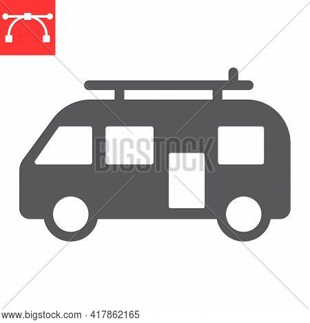 Surfer Van Glyph Icon, Vehicle And Beach, Summer Van Vector Icon, Vector Graphics, Editable Stroke S