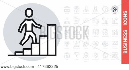Career Growth Icon. Man Walking Up The Stairs In The Form Of A Growing Chart. Simple Black And White