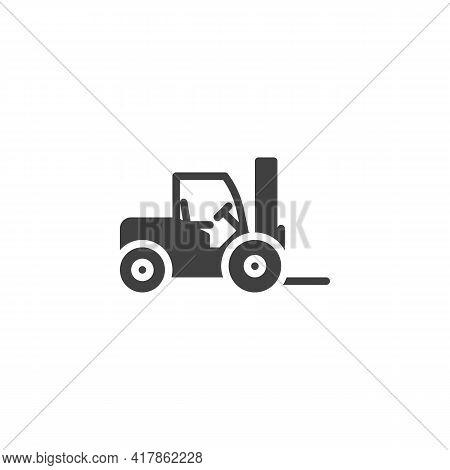 Forklift Truck Vector Icon. Filled Flat Sign For Mobile Concept And Web Design. Loader Truck Glyph I