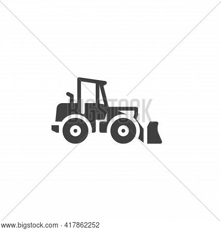 Construction Excavator Truck Vector Icon. Filled Flat Sign For Mobile Concept And Web Design. Loader