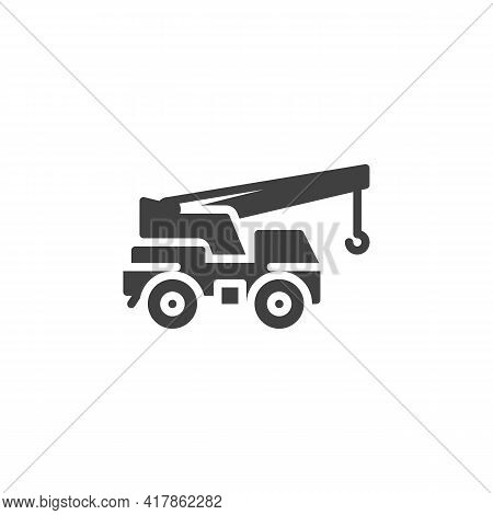 Mobile Crane Vector Icon. Filled Flat Sign For Mobile Concept And Web Design. Crane Machine Glyph Ic