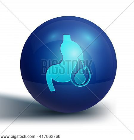 Blue Stomach Heartburn Icon Isolated On White Background. Stomach Burn. Gastritis And Acid Reflux, I