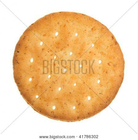 Wheat  cracker. A single piece wholemeal oat biscuit isolated on white background.