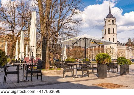 Vilnius, Lithuania - April 21 2021: Vilnius Reopening Bars And Restaurants After Lockdown Due To Cov
