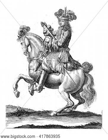 Portrait of Charles XI, King of Sweden, on horseback with a command staff in his hand. At the bottom in the margin are name and function in Latin.