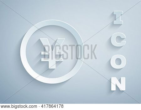 Paper Cut Chinese Yuan Currency Symbol Icon Isolated On Grey Background. Coin Money. Banking Currenc