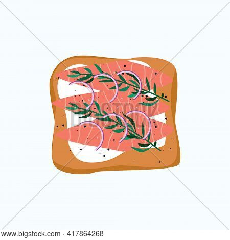 Healthy Salmon Toast With Rosemary, Onion And Pepper Icon Isolated On White Background.fast Snack Wi