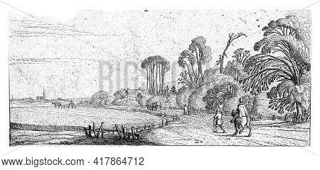 Hikers on a road near Hillegom, Esaias van de Velde, 1615 - 1616
