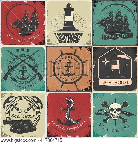 Sailing Vintage Stickers With Lighthouse Anchors Rope Skull Sword Ship Gun Bones Rudder Rays Isolate