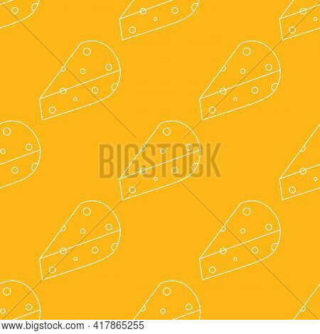Outlined Cheese Chunks Yellow Vector Seamless Pattern Background.