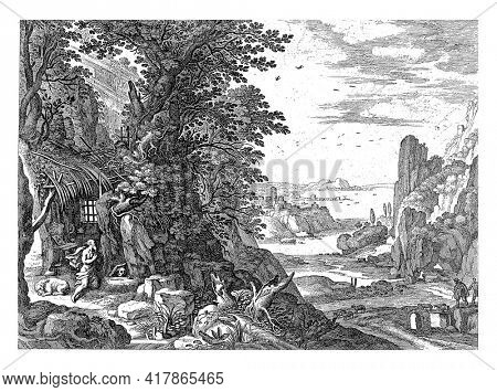 Saint Jerome kneels in his hut. In front of him are a skull and a book and next to him is the lion. An Italian river landscape stretches to the right.