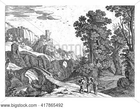 In an Italian landscape, with two arched bridges over a river, the Emmaus walk. Christ walks between them. From the Bible story in Luc. 24: 13-27.