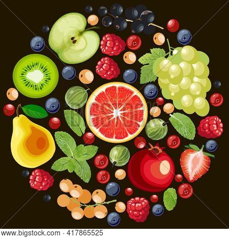 Mix Of Edible Berries, Cut Grapefruit, Pears, Grapes, Currants, Gooseberries, Raspberries, Blueberri