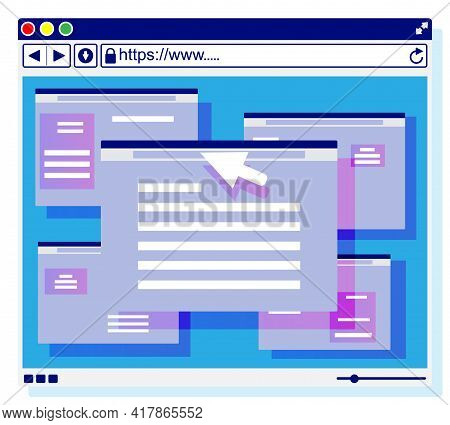 Browser Window. Operating System User Interface, Gui. Computer Software. Web Site And Mouse Cursor.