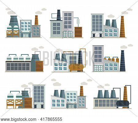 Factory Decorative Flat Icons Set Including Industrial Buildings With Tank Chimney And Exhaust Pipel