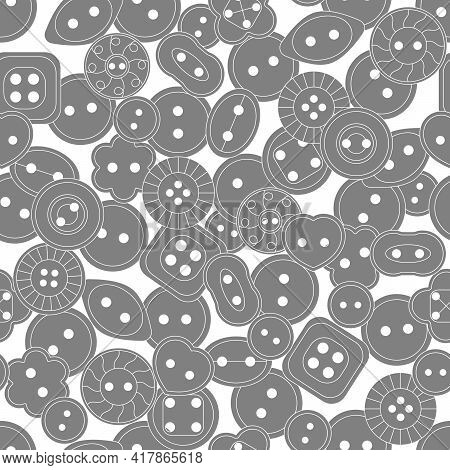 Seamless Pattern. Sewing Button Or Shirt Fastener Buttons. Vector Background For Textile, Wallpaper,