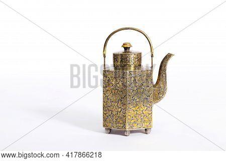 Old Antique Ceramic Tea Pot On White Background.