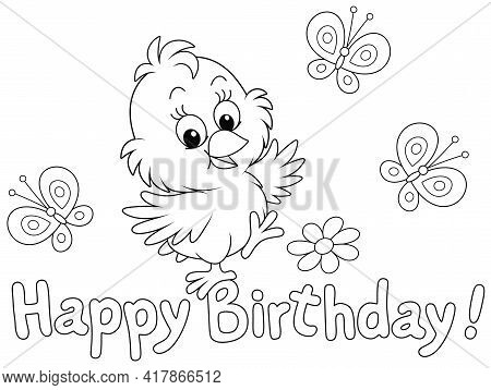 Birthday Card With A Happy Little Chick Dancing With Merry Small Butterflies Flittering Around, Blac