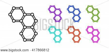 Black Line Chemical Formula Icon Isolated On White Background. Abstract Hexagon For Innovation Medic