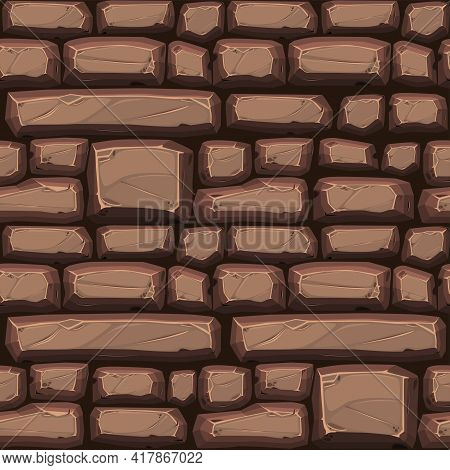 Cobblestone Seamless Background, Colored Pattern Of Paving Stones For Wallpaper.