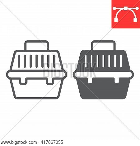 Pet Carrier Line And Glyph Icon, Pet Shop And Animal Transport Bag, Pet Carry Case Vector Icon, Vect