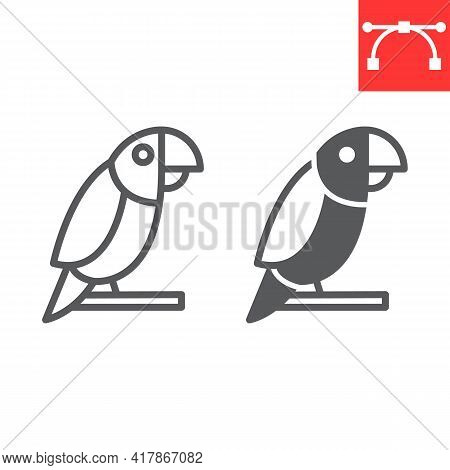 Parrot Line And Glyph Icon, Pet And Bird, Macaw Vector Icon, Vector Graphics, Editable Stroke Outlin