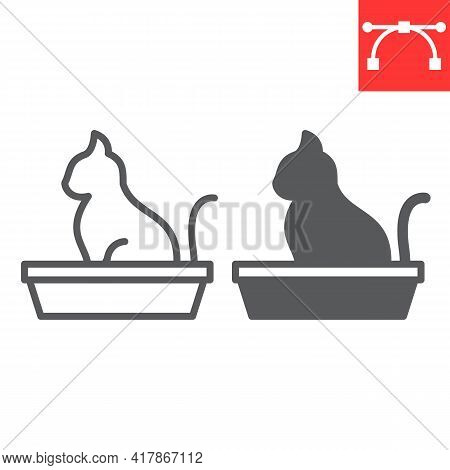 Cat In Pet Tray Line And Glyph Icon, Pet Shop And Sandbox, Cat Tray Vector Icon, Vector Graphics, Ed