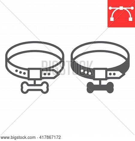 Dog Collar Line And Glyph Icon, Pet Shop And Bone, Pet Collar Vector Icon, Vector Graphics, Editable