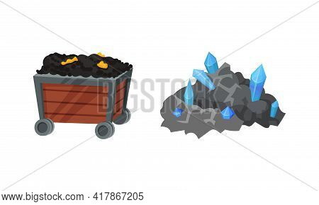 Mining Industrial Tools With Pile Of Valuable Minerals And Trolley Vector Set
