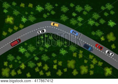 Top View Of A Forest Road With Car. Rural Highway. Way With Different Vehicles. Transportation Desig