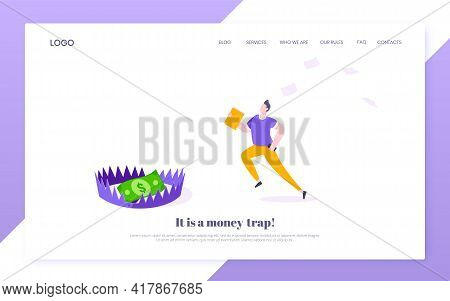 Money Trap Business Concept. Young Adult Businessman Running To Catch The Coin Money In The Steel Be