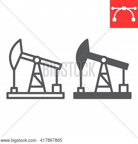 Oil Pump Line And Glyph Icon, Industry And Pump Jack, Oil Rig Vector Icon, Vector Graphics, Editable