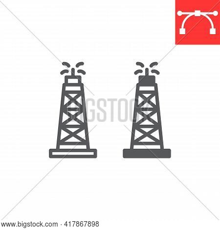 Oil Rig Line And Glyph Icon, Fuel Tower And Drilling Rig, Oil Derrick Vector Icon, Vector Graphics,