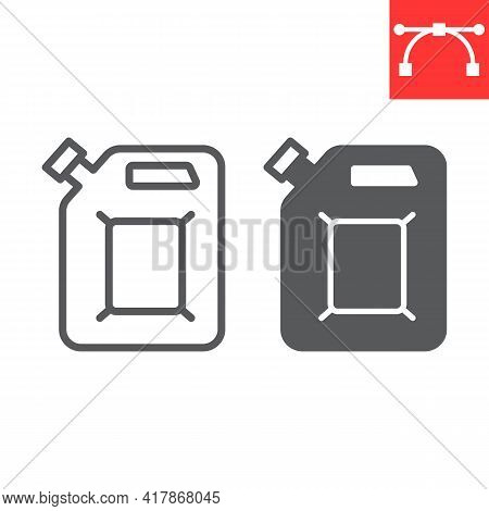 Jerrycan Line And Glyph Icon, Fuel Gallon And Gas Can, Gasoline Canister Vector Icon, Vector Graphic