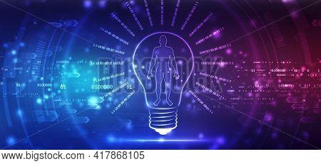 Bulb Illustration On Technology Background, Future Technology, Innovation Background, Creative Idea