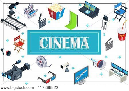 Isometric Movie Production Concept With Cameras Popcorn Soda Director Chairs Megaphone 3d Glasses Sc
