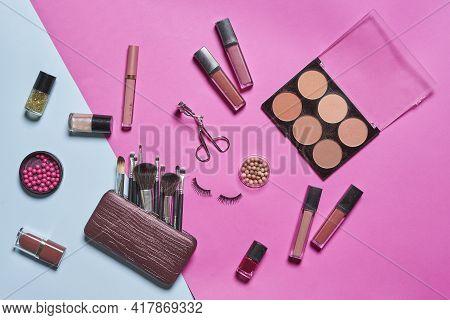 Female Cosmetics Bag. Make-up Products Set