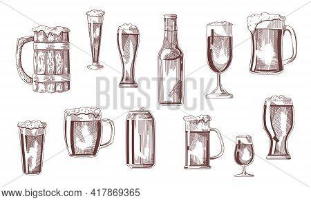 Beer Drink In Glasses, Pints, Mugs, Can Sketch Set. Vintage Beverages Vector Illustration. Hand Draw