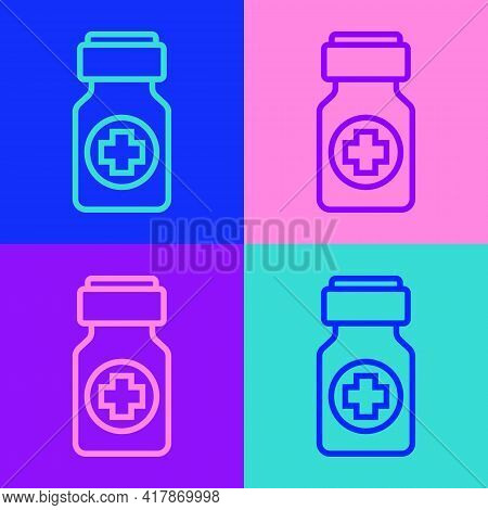 Pop Art Line Medicine Bottle And Pills Icon Isolated On Color Background. Bottle Pill Sign. Pharmacy