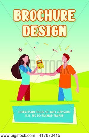 Customer And Seller Shaking Hands. Pos Terminal, Payment, Transaction Flat Vector Illustration. Buyi