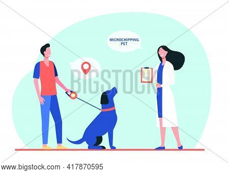 Dog Owner Man And Veterinarian Woman With Chip Syringe And Microchipping Certificate. Safety Animal