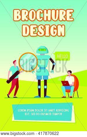 Engineers Creating Robot. Humanoid Speaking Hello, Men With Laptop And Magnifier. Flat Vector Illust