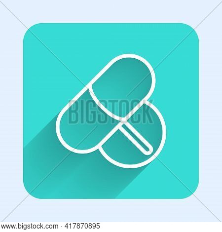 White Line Medicine Pill Or Tablet Icon Isolated With Long Shadow. Capsule Pill And Drug Sign. Pharm