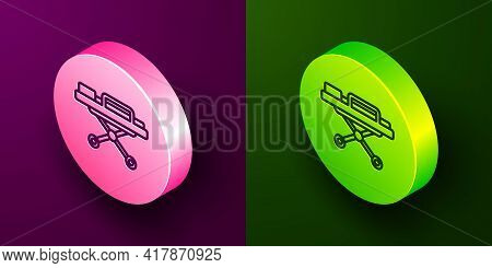 Isometric Line Stretcher Icon Isolated On Purple And Green Background. Patient Hospital Medical Stre