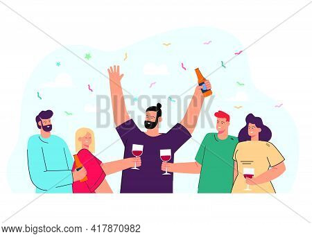 Happy Friends Drinking Wine Or Beer Together Flat Vector Illustration. Cartoon Positive People Clink