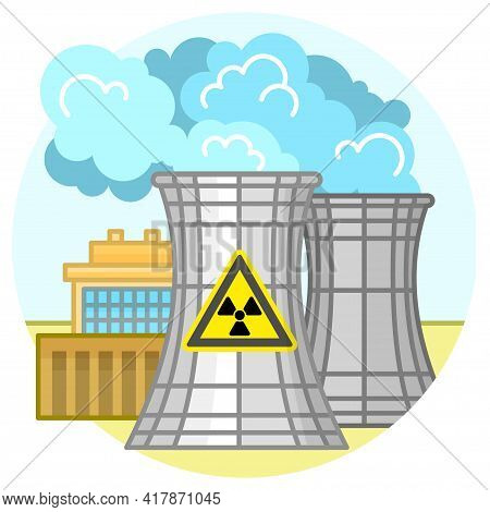 Nuclear Power Plant And Factory. Nuclear Energy Industrial Concept. Illustration In Flat Style
