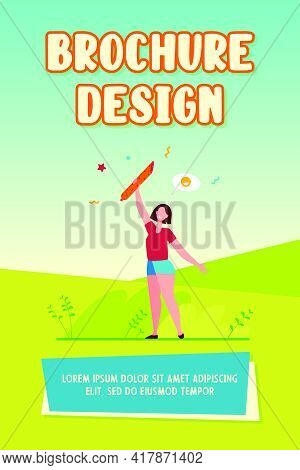Happy Woman Holding Salami. Sausage, Meat Eater, Snack Flat Vector Illustration. Food, Gourmet, Gast
